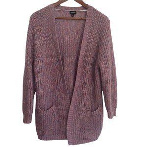 Torrid sz 1 1X pink multicolor metallic long sleeve open cardigan front pockets